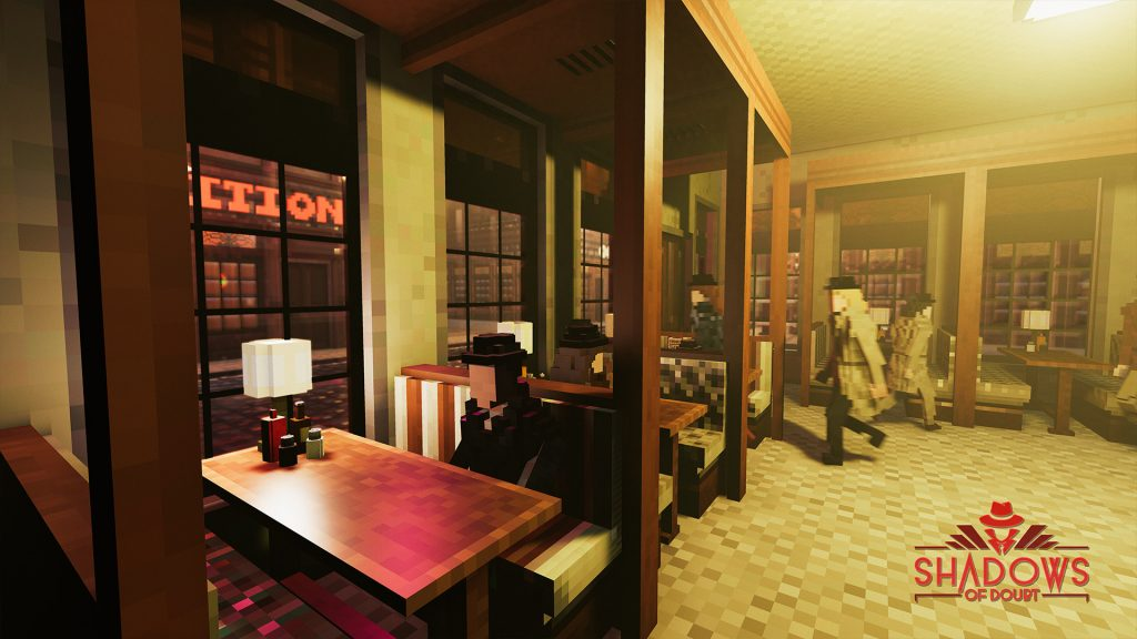 Shadows of Doubt screenshot showing a bar full of people sitting booths