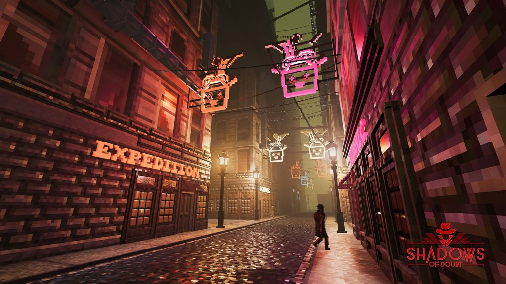 Shadows of Doubt screenshot showing a street at night. Neon signs for noodle bars line the buildings.
