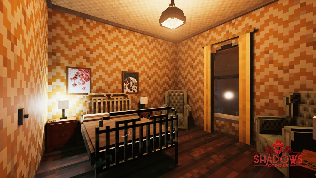 Shadows of Doubt screenshot showing a cost bedroom with a double bed and two chairs. There is some change on a side-table.