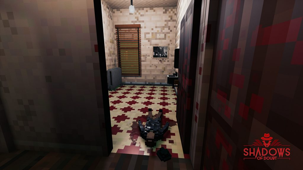 Shadows of Doubt screenshot showing a dead NPC on a bathroom floor.